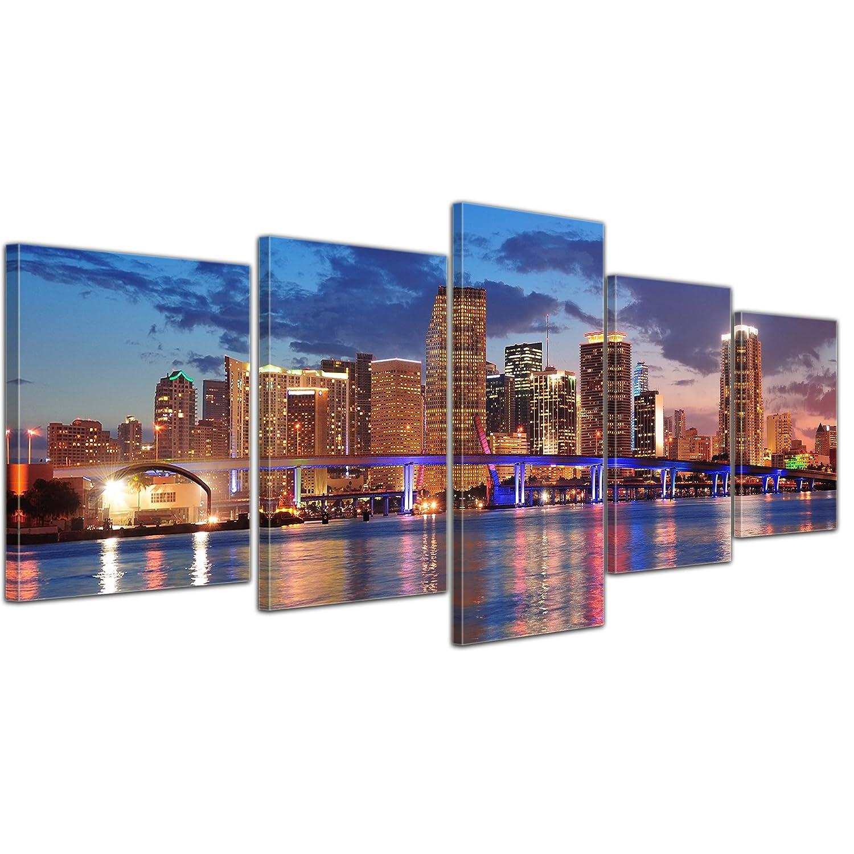 Kunstdruck - Skyline von Miami South Beach - Florida - Bild auf Leinwand - 200x80 cm 5 teilig - Leinwandbilder - Städte & Kulturen - Amerika - Biscayne Bay - Nachtleben