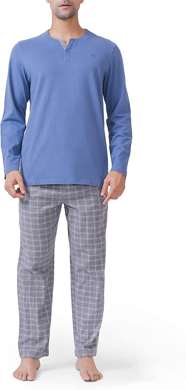 DAVID ARCHY Men's Cotton Pajamas Henley Collar Sleepwear Soft Classic Button-Down Woven Long Sleeve Set: Clothing