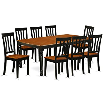East West Furniture DOAN9-BCH-W 9 Piece Tables & Chair Set with One Dover  Dining Table & 8 Kitchen Chairs, Black/Cherry