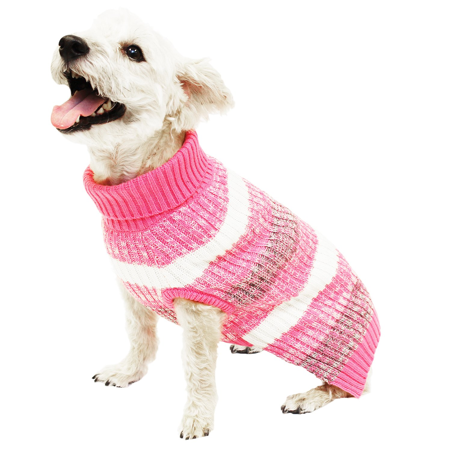 Hotel Doggy Pink Striped Turtleneck Sweater