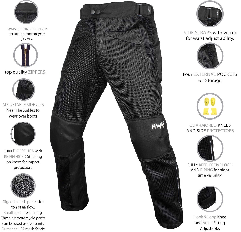 HWK Mesh Motorcycle Air Pants Riding CE ARMORED Motorbike Overpants!!! Waist34-36 Inseam32