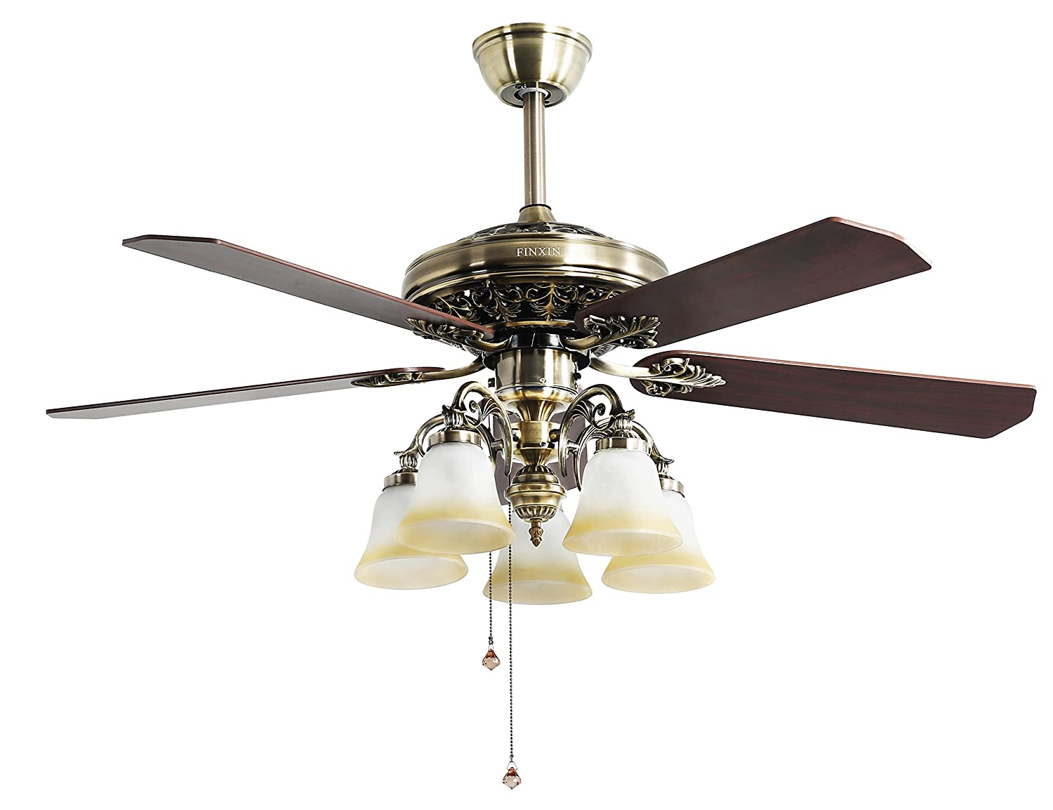 Great Indoor Ceiling Fan Light Fixtures   FINXIN FXCF03 (New Style) New Bronze  Remote LED 52 Ceiling Fans For Bedroom,Living Room,Dining Room Including  Motor ...