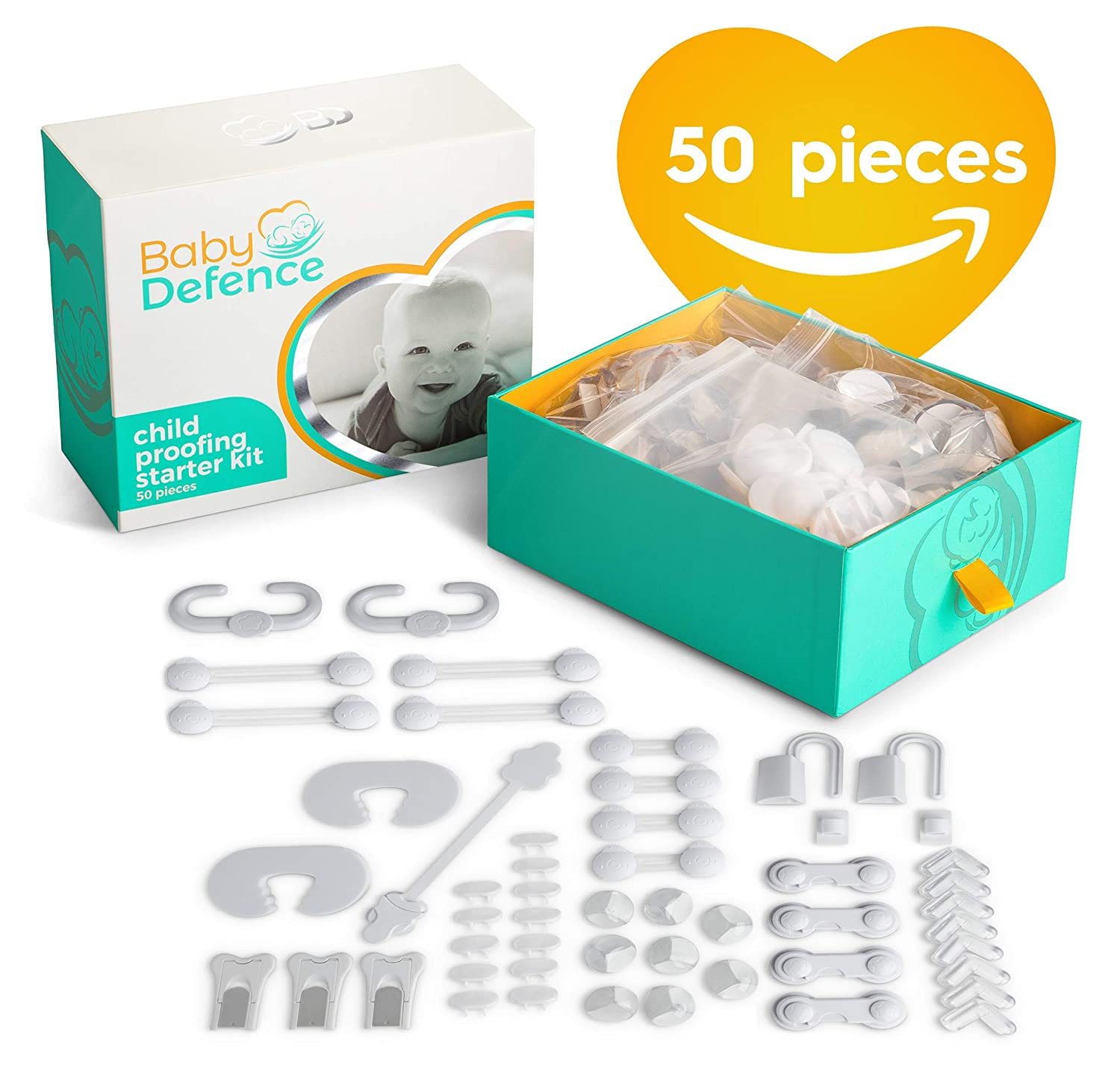 Complete Baby Proofing Kit, 50 pc- Essential Baby Shower Gift -Childproofing Safety Proof House Kits with Door and Cabinet Locks, Latches, Protective Guards, and Plug Covers for Infants, Toddlers.
