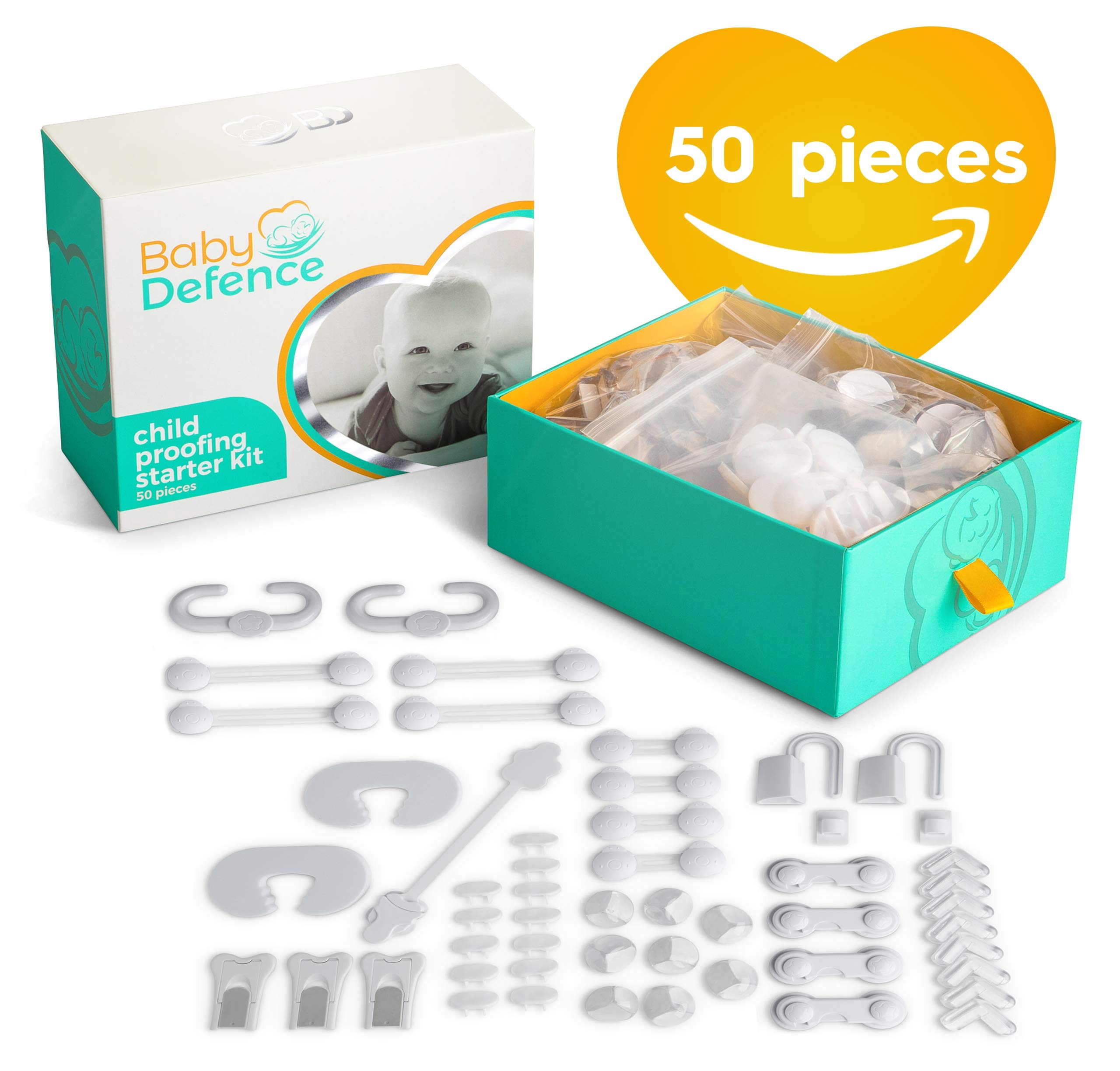 Complete Baby Proofing Kit, 50 pieces,11 different products to Childproof your proof house with Door and Cabinet Locks, Latches & Plug Covers. Essential Baby & Child Safety Kit or Baby Shower Gift set by Baby Defence