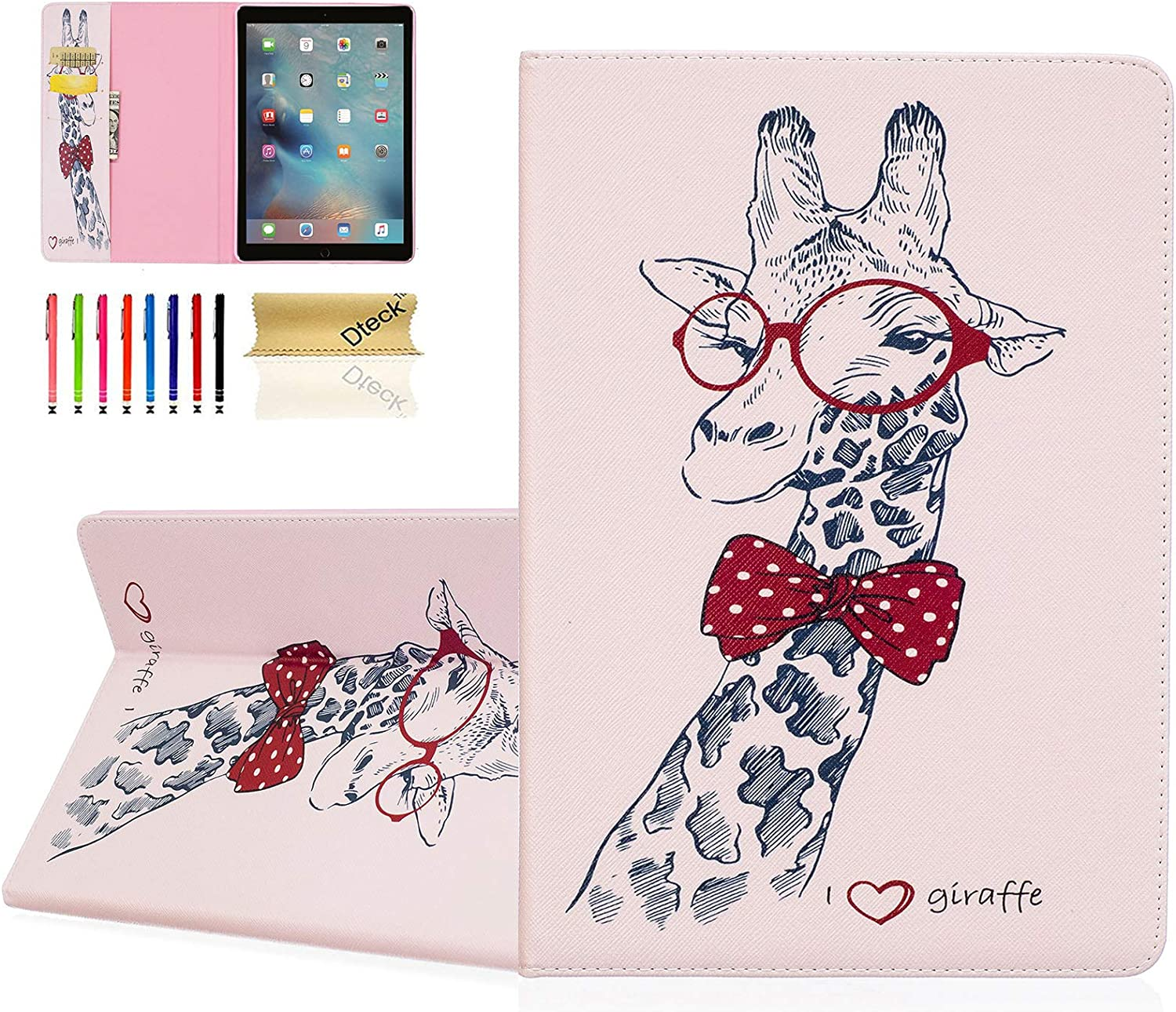 """Dteck Slim Fit Case for iPad Air 10.5-Inch 2019 (A2123 /A2152 /A2153) and iPad Pro 10.5"""" 2017 (A1701 /A1709) - PU Leather Stand Protective Pretty Wallet Case Cover with Stylus Pen/Card Slots-Giraffe"""