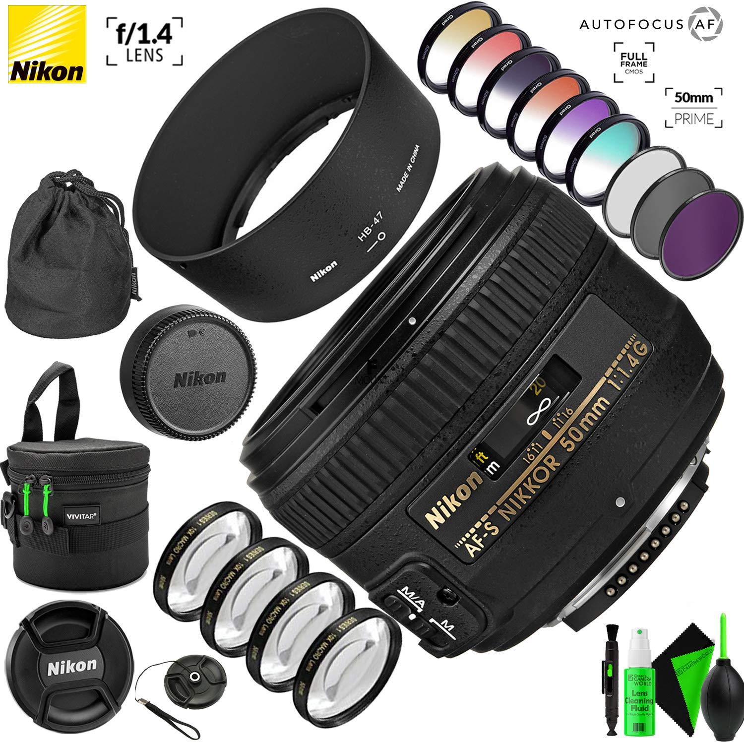 Nikon AF-S NIKKOR 50mm f/1.4G Lens with Creative Filter Kit and Pro Cleaning Accessories by Nikon