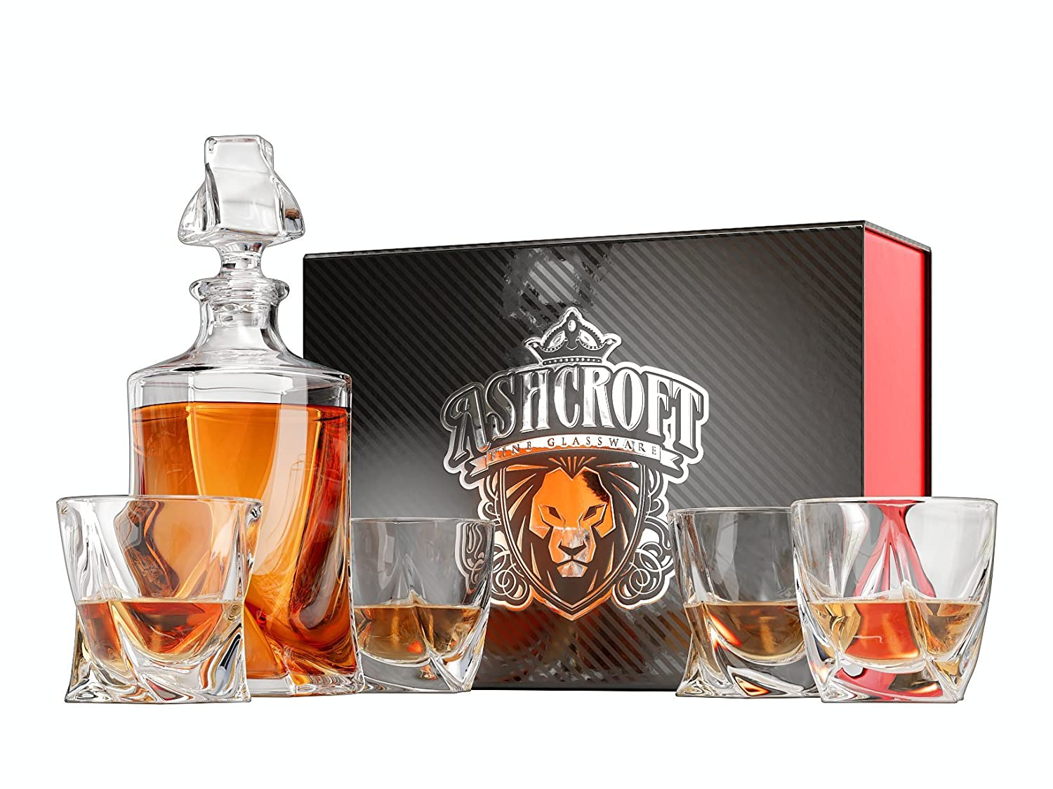 5-Piece Twist Whiskey Decanter Set of 4 Glasses and Scotch Decanter with Stopper - Unique Elegant Dishwasher Safe Glass Liquor Bourbon Decanter Ultra-Clarity Glassware by Ashcroft