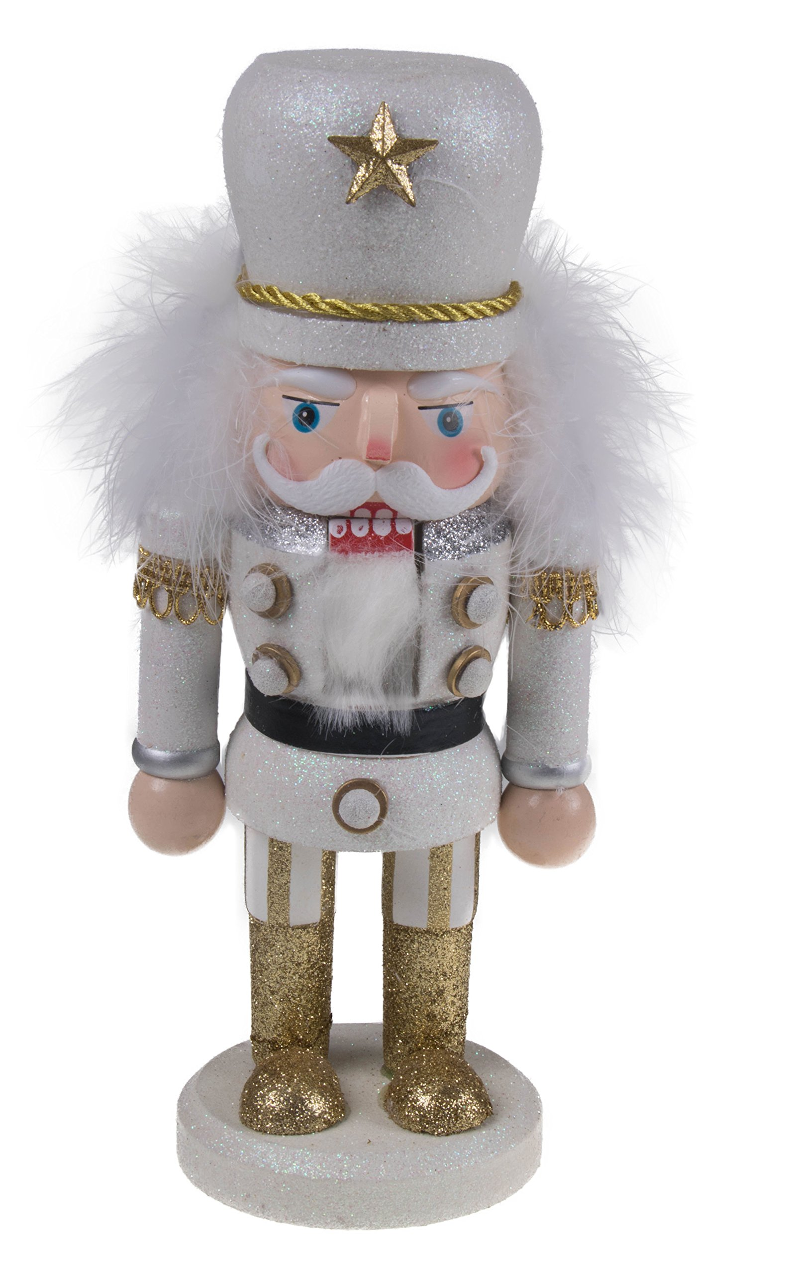 Clever Creations Traditional Chubby Style Officer Nutcracker by Glitter Uniform | Collectible Wooden Christmas Nutcracker | Festive Holiday Décor | Ornate Details | 100% Wood | 10'' Tall | White/Gold