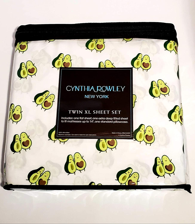 "Cynthia Rowley Twin XL Avocado Sheet Set Microfiber Machine Washable Tumble Dry Fitted Sheet fits Mattresses 14"""
