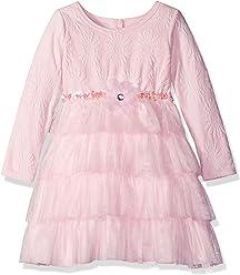 eab17e48b Sweet Heart Rose Girls' Little Knit Jacquard Dress with Mesh Tutu Tiers