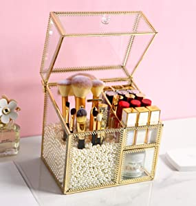 MOOCHI Golden Vintage Glass Cosmetic Multifunctional Makeup Organizer with Pearls Dustproof Cosmetics Storage Display Case For Brushes Lipsticks