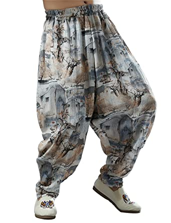 0881a8de6 Idopy Men`s Chinese Traditional Dragon Baggy Harem Pants Trousers at ...