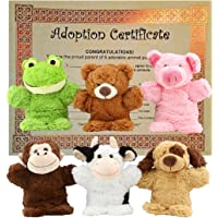 Puppet Zoo-Plush Hand Puppet Set includes Frog, Teddy Bear, Monkey, Pig, Dog, Cow