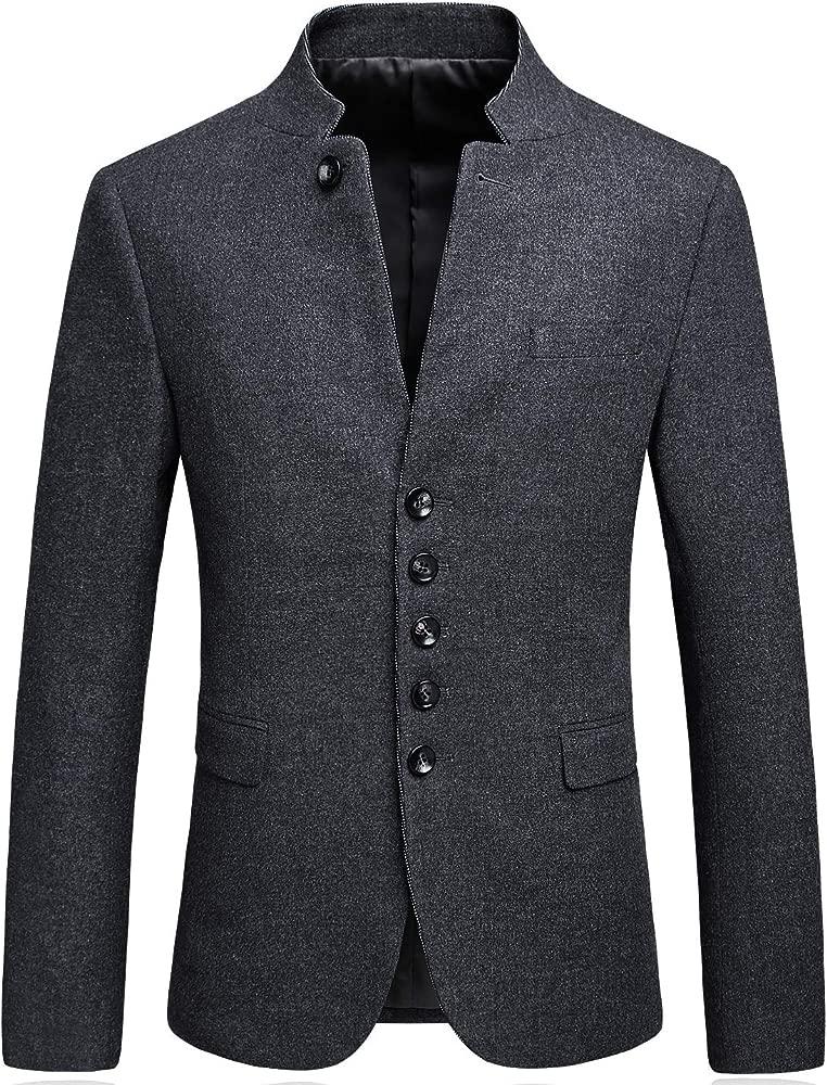 Amazon.com: Mandarin Collar Blazer Chaqueta para Hombre ...