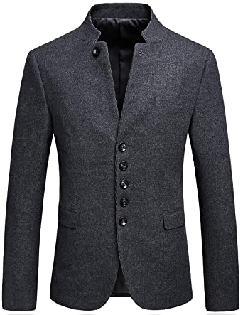 4eb97831fdd Mandarin Collar Blazer Jacket for Men Smart Casual Wool Tweed Sports Jackets  Buttons 175 48