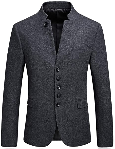 798e8c29af Mandarin Collar Blazer Jacket for Men Smart Casual Wool Tweed Sports  Jackets Slim Fit