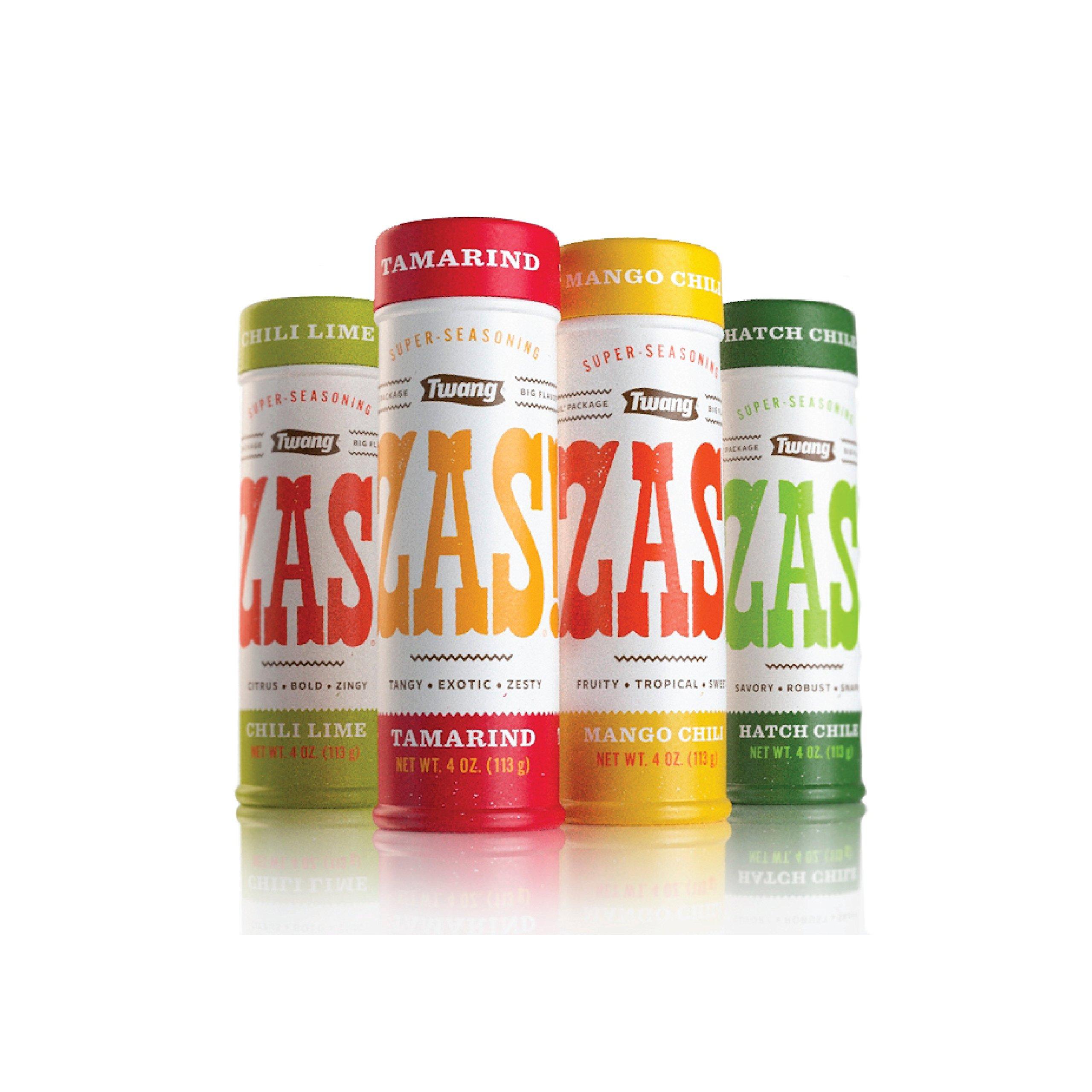 Twang Food Seasoning, ZAS! Super-Seasoning Variety Pack, Salt Flavoring, 4 Ounce Jars, 4 Count, 1 each of Chili-Lime, Mango Chili, Tamarind, Hatch Chile