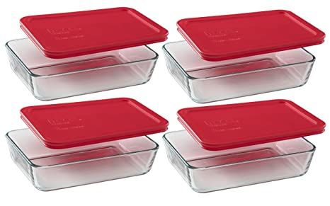 Pyrex 3 Cup Rectangle Food Storage (Pack Of 4 Containers)