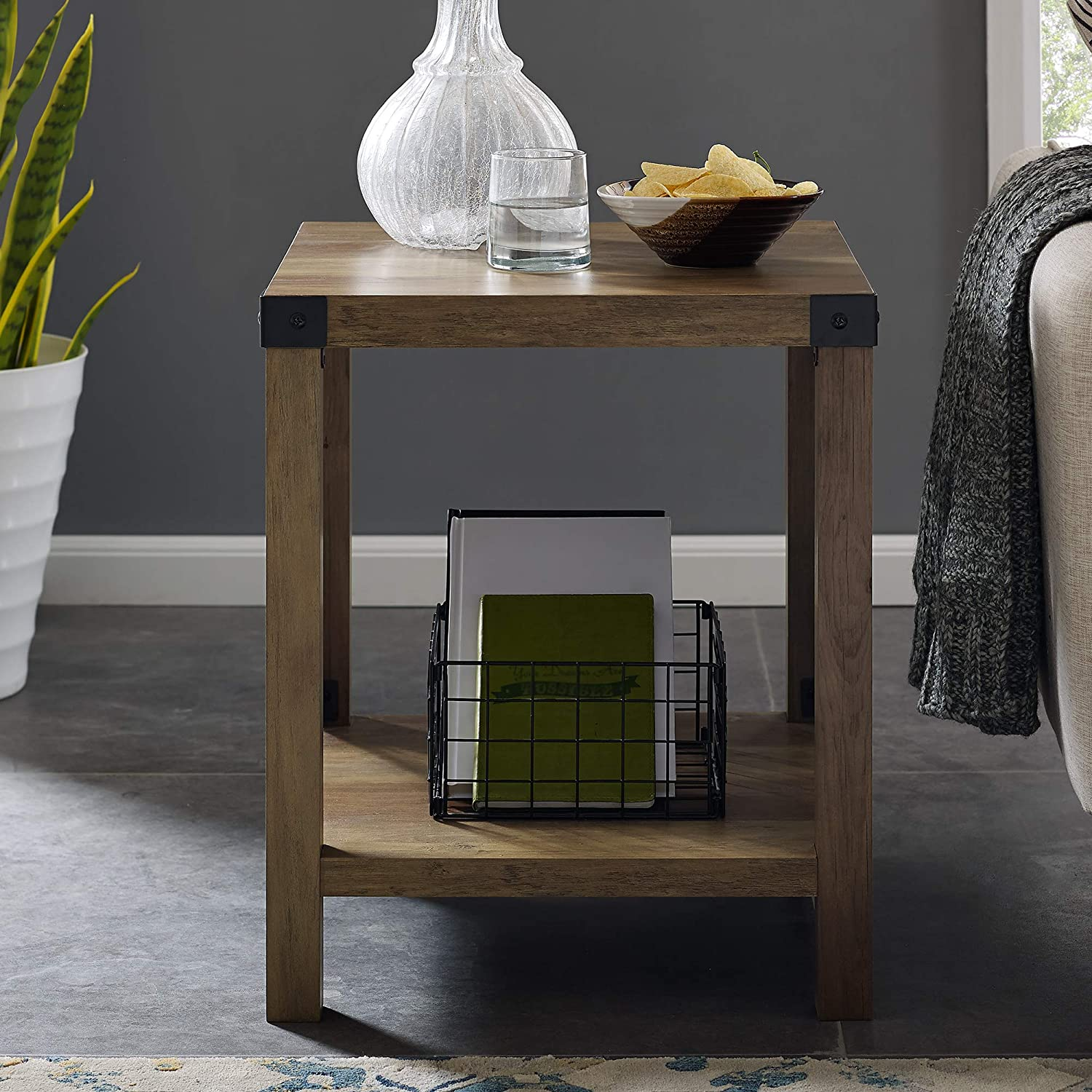 "WE Furniture AZF18MXSTRO Side Table 18"" Rustic Oak"
