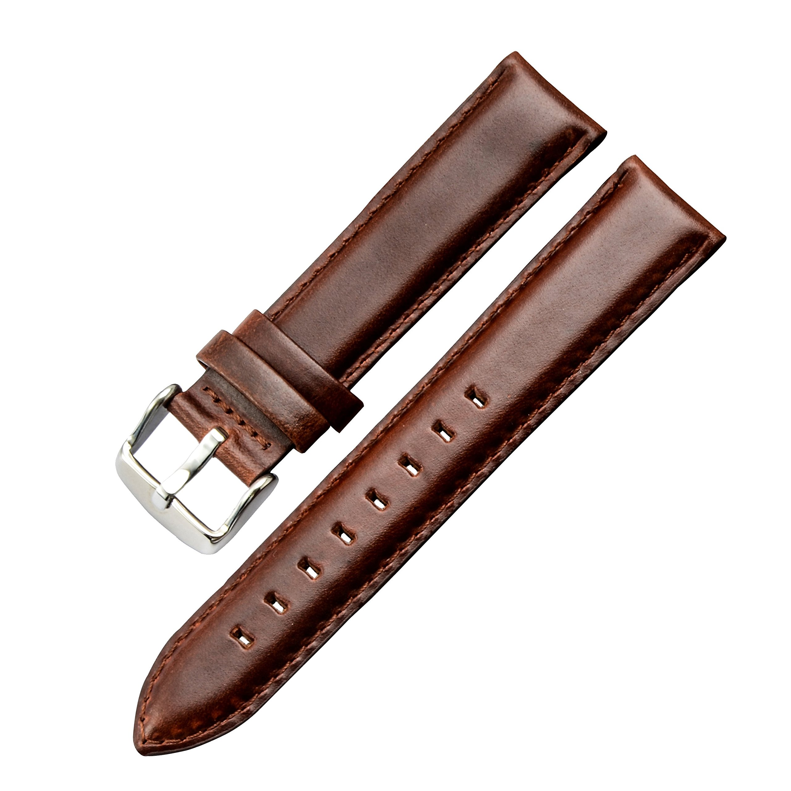 13mm Business Leather Watch Bands Replacement Straps Medium Padded Flat Design Brown Genuine Calfskin