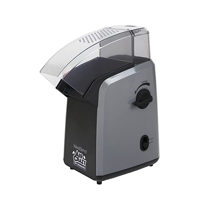 West Bend 82702GB Air Crazy On Demand Hot Air Popcorn Popper Featuring Single Serve or Family Size Portion Control, 4-Quart, Black