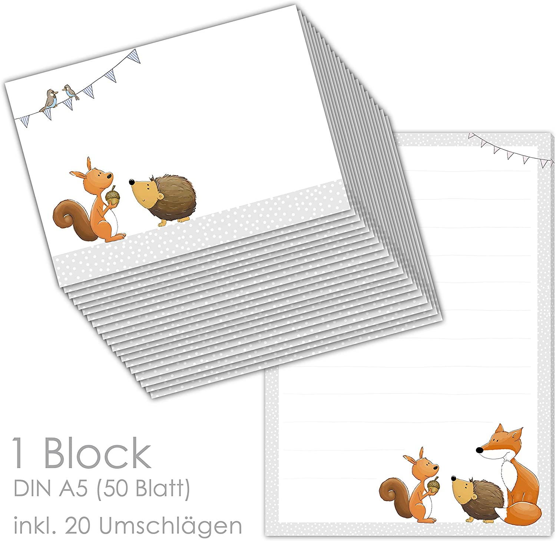 Mädchen und Jungen emufarm Briefpapier-Set für Kinder POST FÜR DICH 20 Blatt DIN A4 mit Linien inklusive 20 bedruckten Umschläge// Briefpapier Kinder