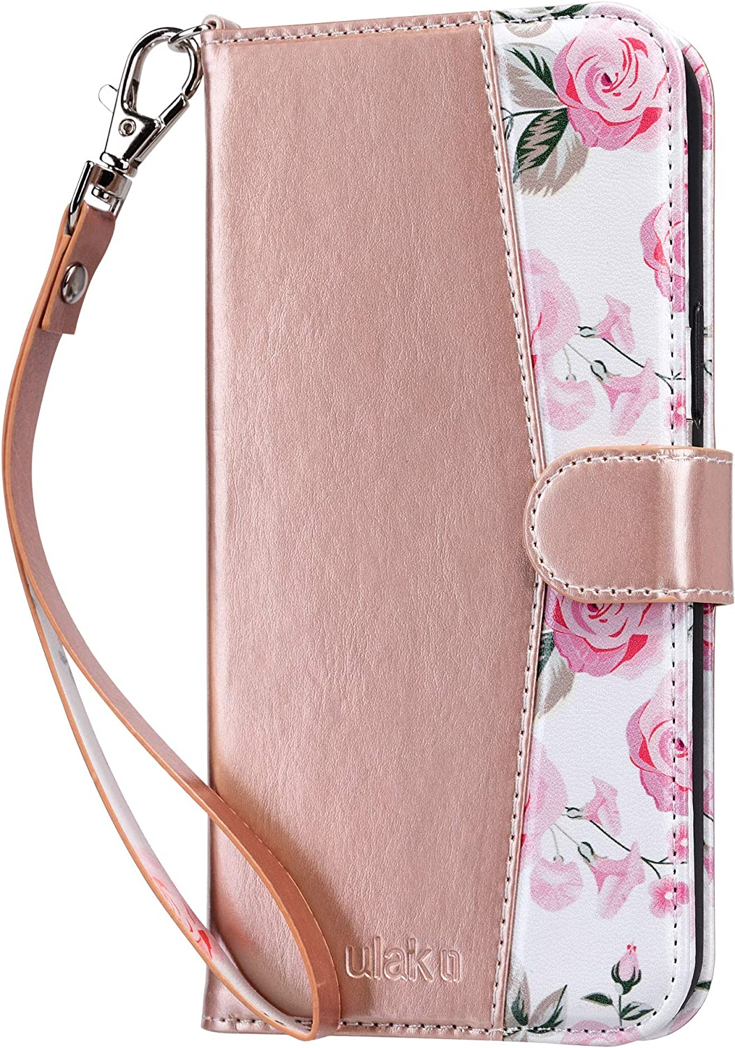 ULAK Compatible with iPhone 12 Pro Max Wallet Case with Card Holders, Designed Flip PU Leather Kickstand Shockproof Protective Phone Cover for iPhone 12 Pro Max 6.7 inch, Rose Gold