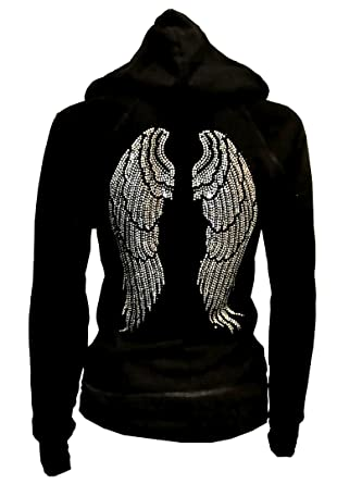 2d95ed48bb2702 Lady Plus Size Angel Wings Zip up Hoodie Sweater with Rhinestones Front    Back (Small