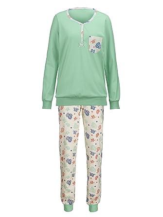 0cd4579a2a Harmony Damen Schlafanzug lindgrün/Ecru/Koralle/blau: Amazon.de ...