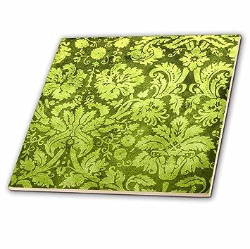 3dRose CT 32492 _ 2 Deko Vintage Floral Tapete Green Ceramic Fliesen, ...