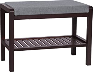 SONGMICS Bamboo Shoe Bench Rack With Upholstered Padded Seat Storage Shelf  Origanizer Bench For Bedroom Living