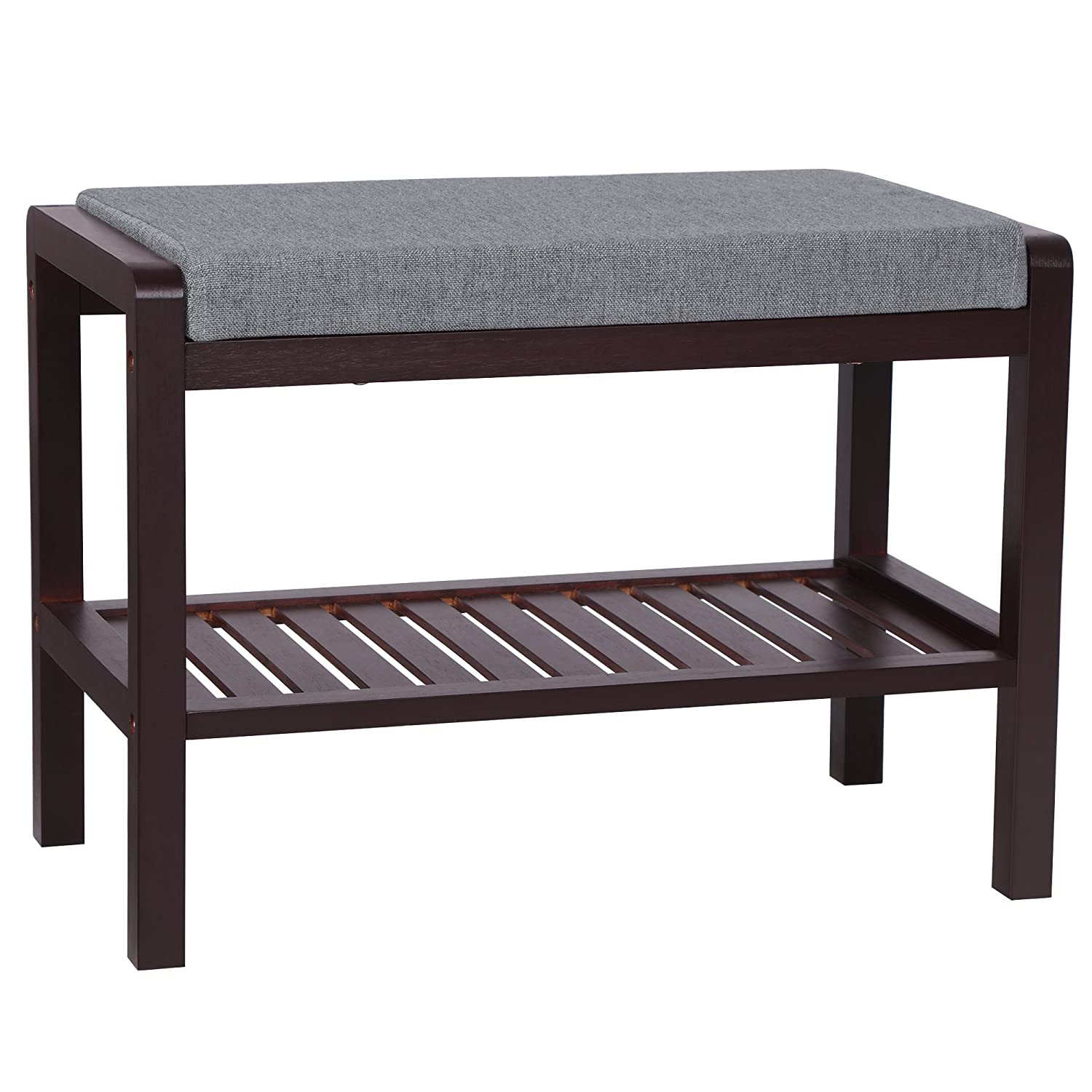 Brown SONGMICS Bamboo Wood shoes Bench Rack with Cushion Upholstered Padded Seat Storage Shelf Bench for Entryway Bedroom Living Room Hallway Garage Mud Room ULBS65C