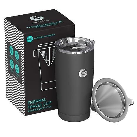 Coffee Gator Kaffeemaschine fu?r unterwegs – All-in-One papierloser Kaffeefilter – 15.5 oz – Vakuum-Thermobecher mit Mikro-Si