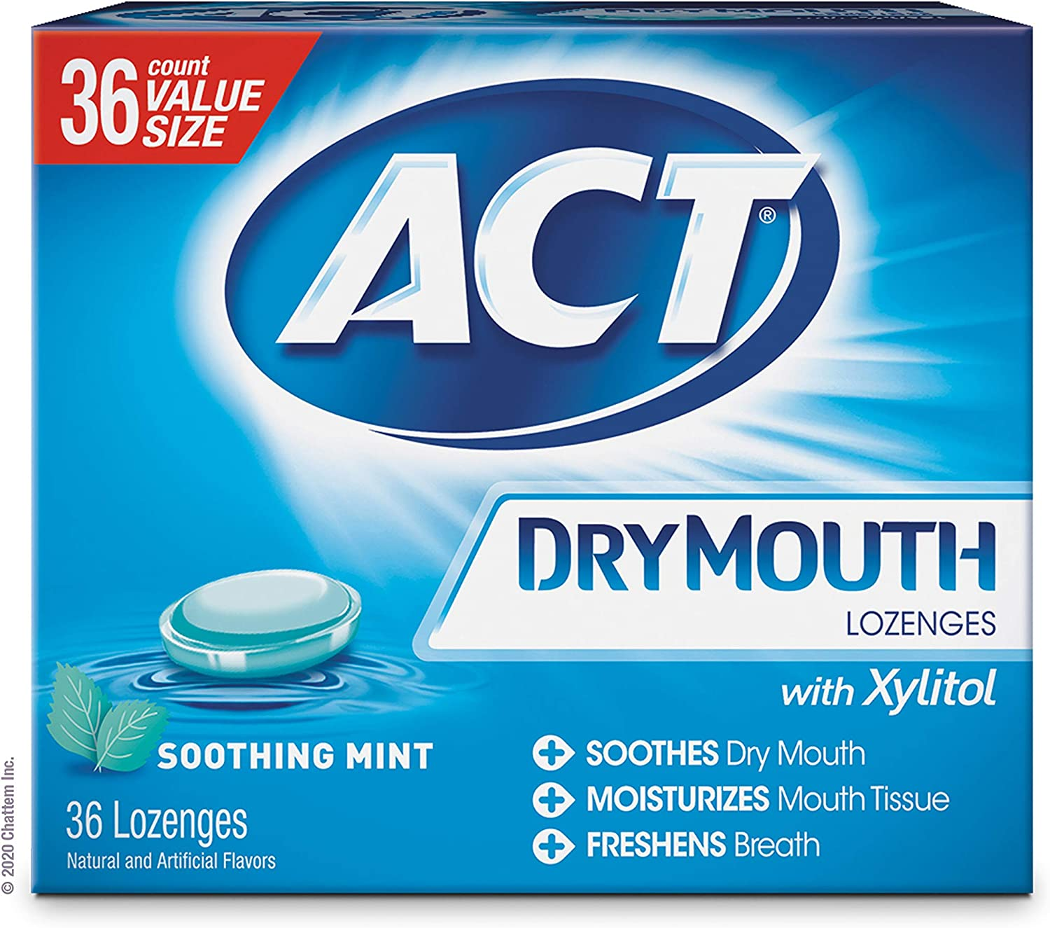 ACT Dry Mouth Lozenges With Xylitol, Soothing Mint, 36 Count: Health & Personal Care
