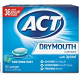 ACT Dry Mouth Lozenges Soothing Mint 36 Count Soothing Mint Flavored Lozenges with Xylitol Help Moisturize Mouth Tissue…