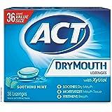 ACT Pastilhas de boca seca, menta calmante, 36 unidades, pastilhas calmantes com sabor de menta e xilitol, ajudam a hidratar