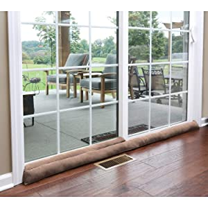 "HOME DISTRICT Sliding Door Draft-Dodger - Weighted Patio Door Breeze, Bug and Noise Guard Stopper Blocker - Approx. 71"" Long - Light Brown"