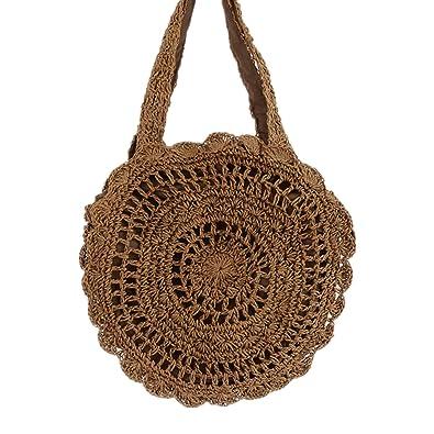 7af94d0743f4 Amazon.com  ZYGY Handmade summer beach tote bag for Women shouldbag Woven  straw Handbag (brown)  Shoes