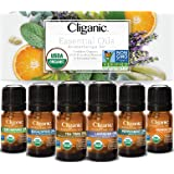 Cliganic USDA Organic Aromatherapy Essential Oils Set (Top 6), 100% Pure Natural - Peppermint, Lavender, Eucalyptus, Tea…