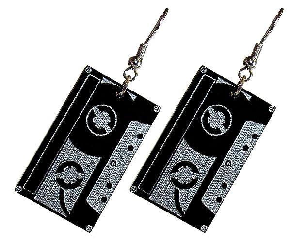 90s Cassette Tape Dangle Earrings, Retro Black Music Tape Cassette  Earrings, 80s Party, Old School Music Lover Gift