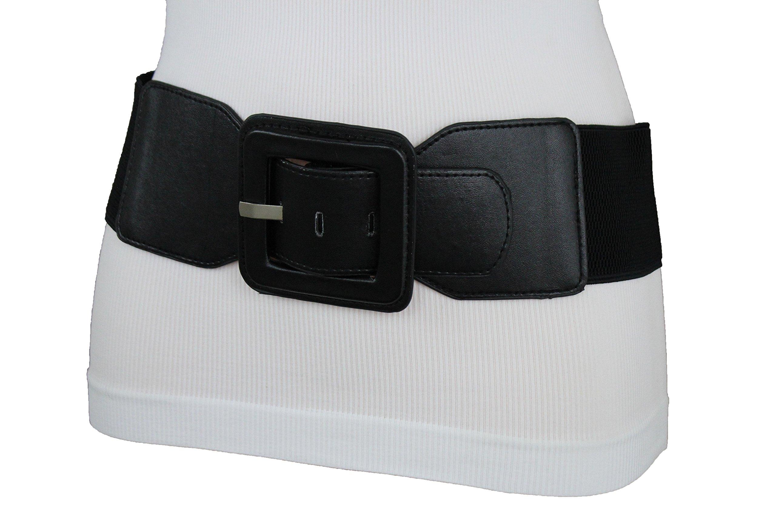 TFJ Women Fashion Elastic Belt High Waist Hip Big Square Buckle Plus M L XL Black