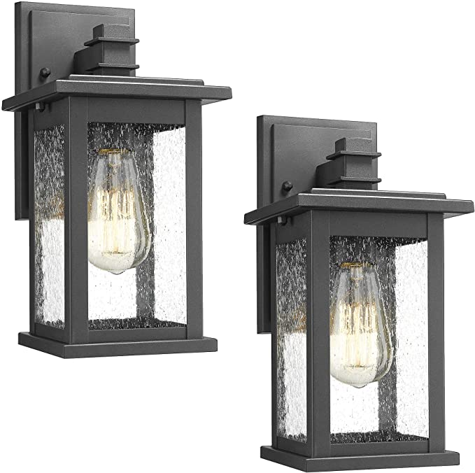 Emliviar Outdoor Wall Mount Lights 2 Pack 1 Light Exterior Sconces Lantern In Black Finish With Clear Seeded Glass Os 1803ew1 2pk Amazon Ca Home Kitchen