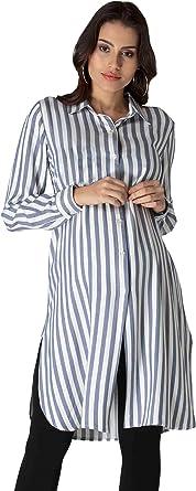 M.M.C. Túnica de rayas con rayas azules – blusa larga para mujer, vestido de embarazada, camisa, vestido de fiesta, blusa para embarazadas: Amazon.es: Ropa y accesorios
