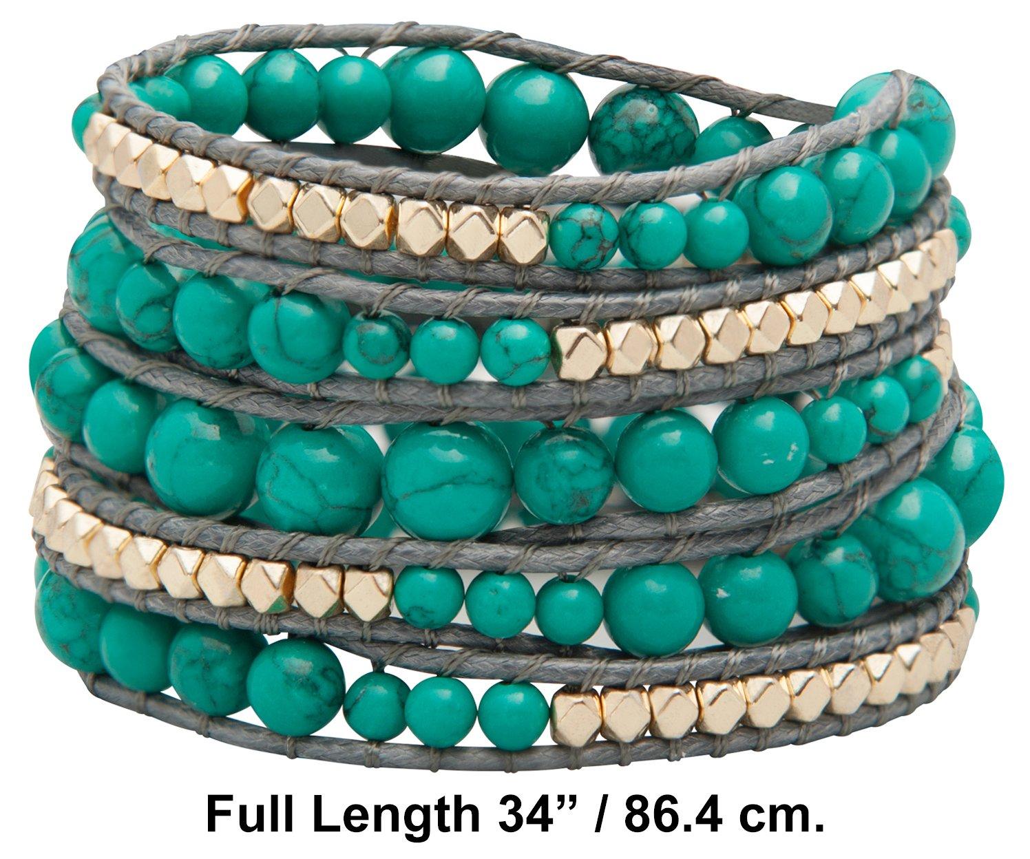 Genuine Stones 5 Wrap Bracelet - Bangle Cuff Rope With Beads - Unisex - Free Size Adjustable (Turquoise) by Sun Life Style (Image #5)