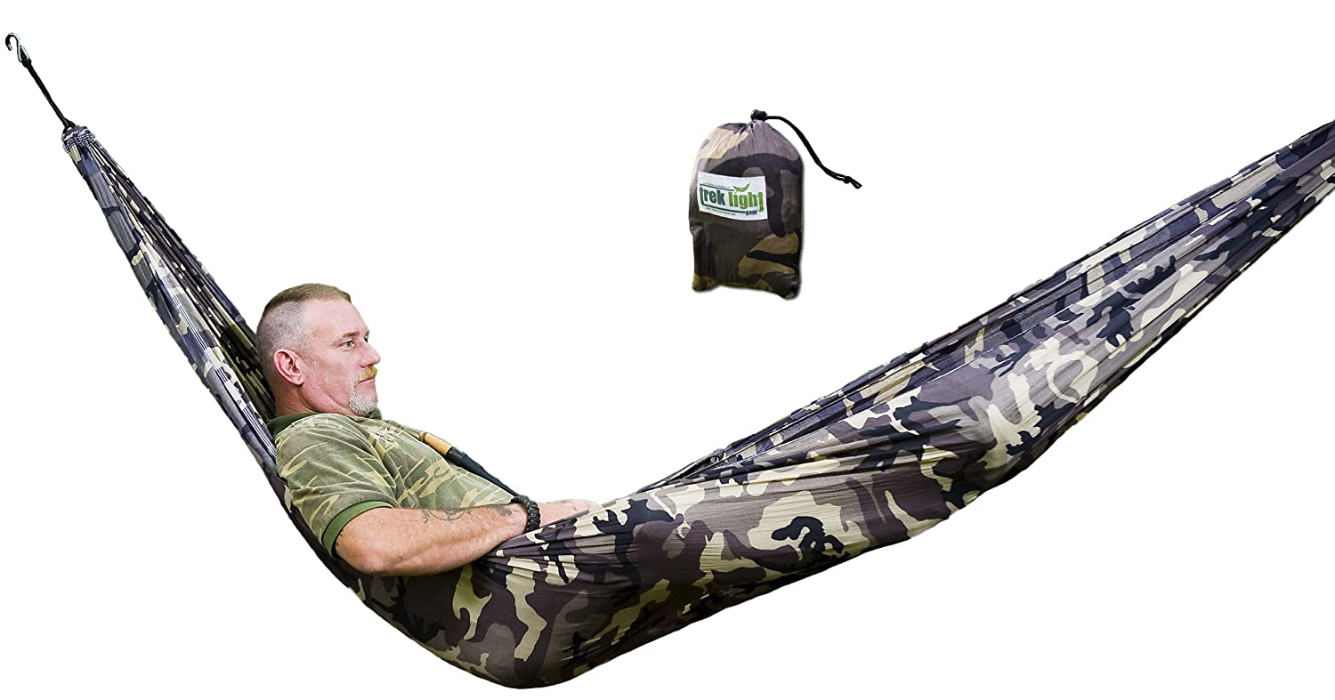 amazon    single hammock by trek light gear   pioneering lightweight hammocks camo  sports  u0026 outdoors amazon    single hammock by trek light gear   pioneering      rh   amazon