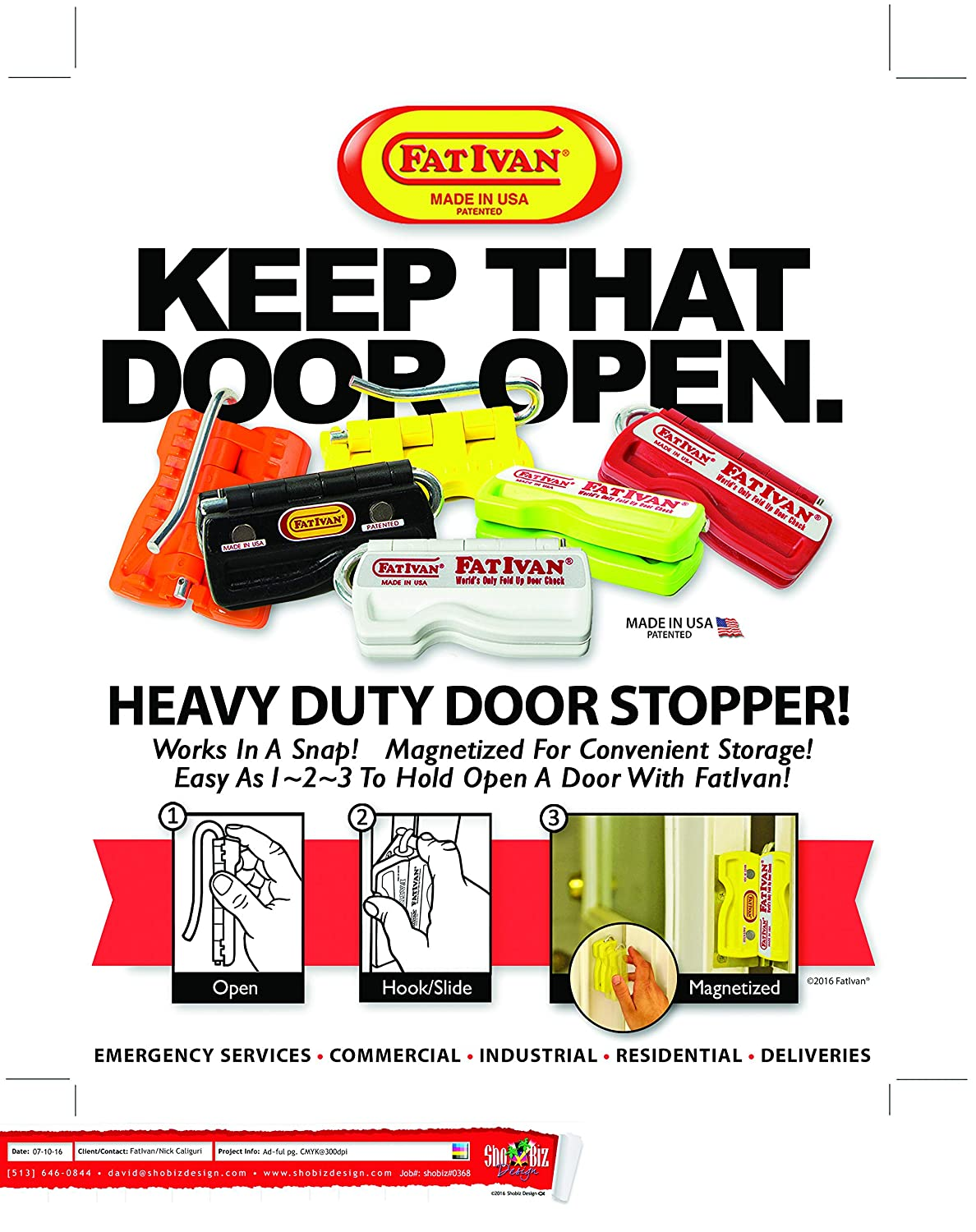 Original FatIvan Portable Fold Up or Homeowners Yellow Magnetic Paramedics Door Chock Wedge Stoppers for Firefighters