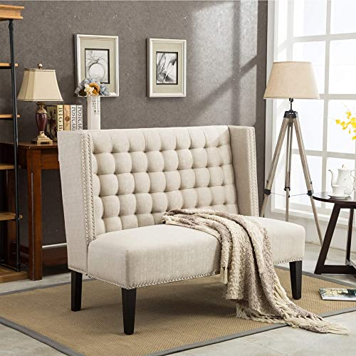 Modern Loveseat Settee Button Tufted Sofa Couch Upholstered Banquette Dining Bench Living Room Funiture - a good cheap living room sofa