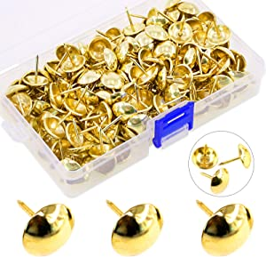 Hilitchi 200 Pieces 5/8'' (16mm) Round Dome Head Vintage Decorative Upholstery Nails Tacks Furniture Sofa Thumb Tacks Nails Pins with Clear Plastic Case (Gold)