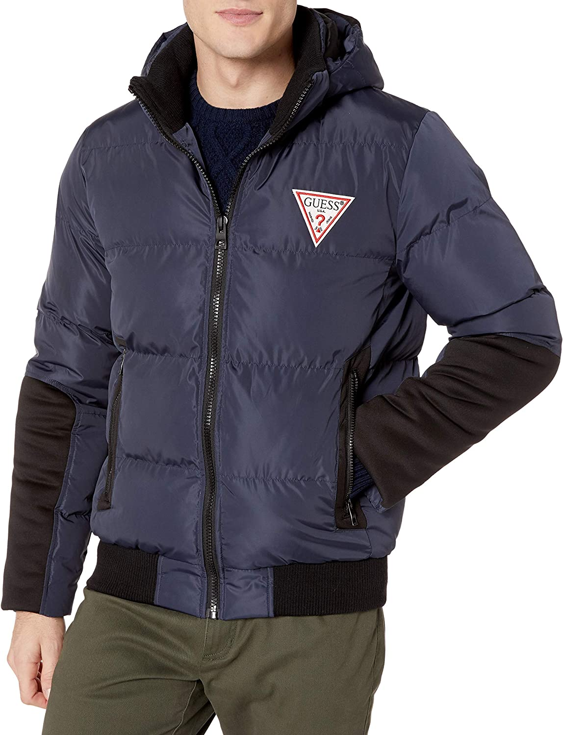 GUESS Men's Mixed Media Hooded Puffer Jacket