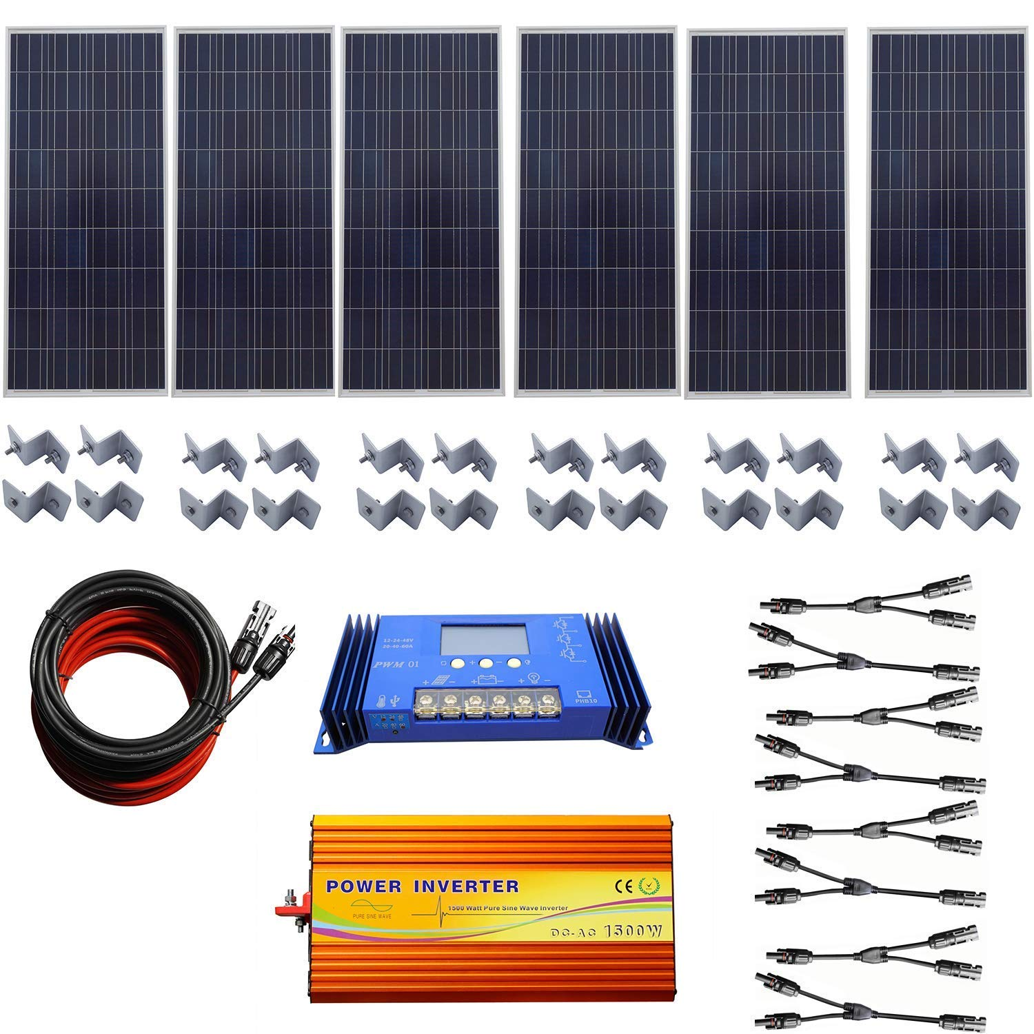 Amazon.com: 900 W 24 V Off Grid sistema Solar Kit 6 x 150 W ...
